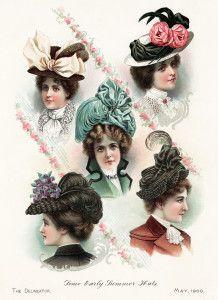 Victorian hat clip art free, elegant hat illustration, old fashioned ladies hat, vintage hat printable, antique hat for woman, beautiful ant...