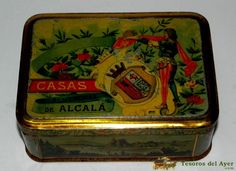 TesorosDelAyer.com · Old Antique Vintage Tin Box · Old tins boxes · OLD TIN BOX WITH ADVERTISING LITHOGRAPHED HOUSE, ALEMANDRAS of Alcala de Henares, MEASURES 14.5 X 10.5 X 5.5 CMS. VERY PRETTY.