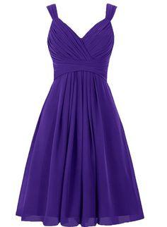EllaGowns Women's V Neck Chiffon Bridesmaid Dress Short Prom Gown Regency US 10