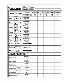 Yahtzee Rules Printable  Google Search   Pinteres