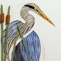 Quilled Heron, Turned. Quilling rolled paper wall art. Quilling by Sandra White.