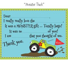 Monster Truck party - thank you cards