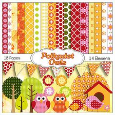 Polka Dot Owls Clip Art. Pink Orange Owl Scrapbook Kit, Instant Download, Party Invites, Birthday Ideas,