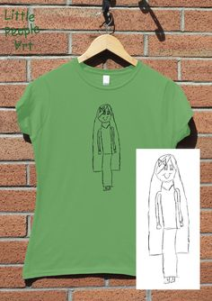 Items similar to Personalized Cotton T-Shirt - Ladie's Top Custom Silk Screen Print Your Child's Drawing on Jersey Knit Cotton Top Keepsake Gift for Mom on Etsy Silk Screen Printing, Personalized T Shirts, Drawing For Kids, Little People, Your Child, Gifts For Mom, Colorful Shirts, To My Daughter, Lady