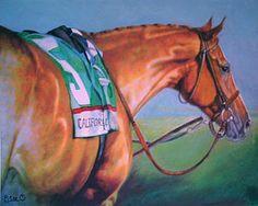 California Chrome Painting - Kentucky Derby Winner  by Linda Elsea