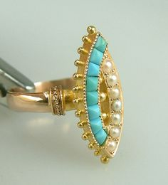Image detail for -Antique Victorian Persian Turquoise Pearl Ring Vintage Estate Jewelry ...