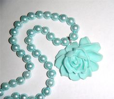 """Turquoise reson peony flower pendant on a pearl glass bead necklace 18.1/2"""" long (47cm)"""