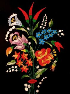 Hungarian Embroidery Patterns Hungarian Folk Embroidery I have this, it's beautiful. Hungarian Embroidery, Folk Embroidery, Learn Embroidery, Floral Embroidery, Chain Stitch Embroidery, Embroidery Stitches, Embroidery Designs, Stitch Head, Embroidery Techniques