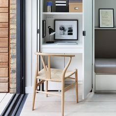 Discover small spaces design ideas on HOUSE - design, food and travel by House & Garden. A small workspace with space-saving pocket doors is concealed in a kitchen cupboard. Home Office Furniture, Home Office Decor, Home Decor, Small Rooms, Small Spaces, Wall Storage, Storage Ideas, Office Storage, Storage Baskets