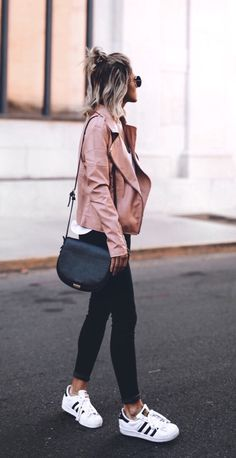 Womens fashion | fall | style | fashion | outfit | street style | leather | jacket | blush | adidas | casual  Instagram: @joandkemp