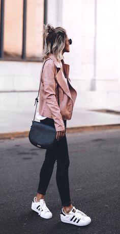 Womens fashion | fall | style | fashion | outfit | street style | leather | jacket | blush | adidas | casual  Instagram: @joandkemp