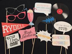 Grease Themed Party Photo Booth Props by IGotMadProps on Etsy