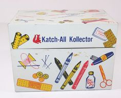 Vintage Metal Lithographed Katch All Kollector Kitchen Kitsch Recipe Box Storage