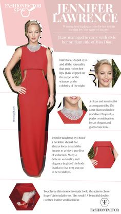 Jennifer Lawrence never fails to dazzle. This beautiful girl chose to wear a red dress that emphasized her figure without showing too much. Login to FashionFactor.me and discover the details that made her dress the best choice.