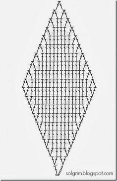 12 ruiten haken zoals het telpatroon boven vermeld. Punten aan elkaar haken tot een ster. Dit 2 x daarna de punten aan elkaar.