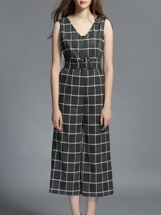#AdoreWe #StyleWe MESAPPAS Gray Printed Checkered/Plaid Casual A-line Jumpsuit - AdoreWe.com
