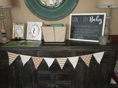 Shabby Chic baby shower sign in table
