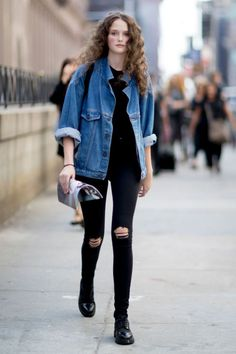 Models Off Duty: NYFW SS17, fall street style, denim shirt outerwear, distressed / ripped black jeans