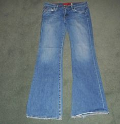 Women's Blue BIG STAR FLARY Distressed Flared Western Style Jeans, Size 31R, GUC #BIGSTARFLARY #FlaredDesignerDistressedCountryWesternStyle