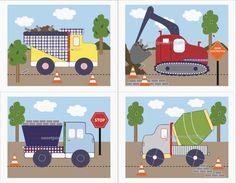 Construction Art Boys Busy Builder Trucks Art Prints For Kids Bedding