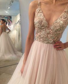 How DREAMY?!! Lazaro 3712 blush wedding dress