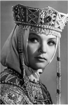 Actress Svetlana Svetlichnaya in the costume of a Russian medieval Tsarina (title of a female ruler), old photo, 1960s