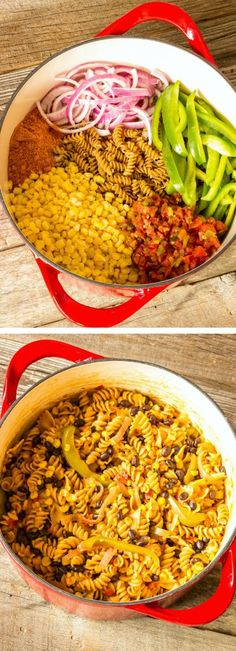 One Pot Wonder Southwest Pasta ~ corn, pasta, bell peppers, onions, tomatoes and chilies, cilantro, black beans and cheese...