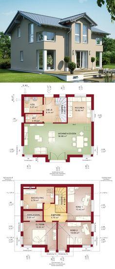 Einfamilienhaus Architektur mit Satteldach & Querhaus - Haus bauen Grundriss Fertighaus Evolution 125 V4 Bien Zenker Hausbau Ideen - HausbauDirekt.de