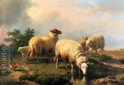 Sheep And A Chicken In A Landscape  by Eugène Verboeckhoven