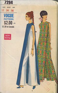 Vogue Pattern Pattern Number 7294 Copyright: 1960s Vintage 60's Pant-Dress with Over Dress Pattern Pant-dress pattern with attached contrast of self front and back Over-Dress. Left shoulder button closing and invisible center back zipper closing.
