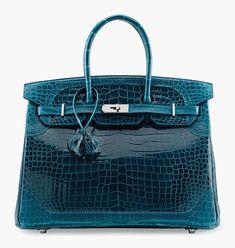 Hermès Limited Edition Ghillies Birkin in Shiny and Matte Bleu Colvert Porosus Crocodile with Palladium Hardware, Hermes Birkin, Hermes Bags, Hermes Handbags, Handbags On Sale, Purses And Handbags, Leather Handbags, Leather Purses, Leather Pants, Leather Totes