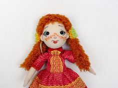 Handmade art doll collectible interior doll textile doll for