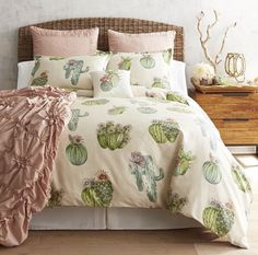 Journey into the desert with our Painted Cactus duvet covers, shams and decorative pillow. A lively allover print of cactuses will add a playful spirit to your guest's or teen's room. Crafted of soft cotton, duvet covers and shams are machine-washable. My New Room, My Room, Dorm Room, Deco Cactus, Cactus Decor, Cactus Art, Cactus Bedroom, Home Interior, Interior Design