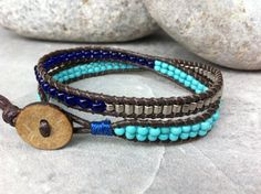 Mix Beaded Double Wrap Bracelet Blue and Silver by LilPumpkinBeads