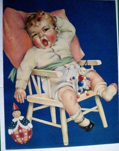 """Vintage 1930 Print Charlotte Becker Baby in High Chair """"When The Sandman Comes"""" Vintage Cards, Vintage Postcards, Art Students League, Film D'animation, Magazines For Kids, Baby Kind, Children's Book Illustration, Baby Prints, Vintage Pictures"""