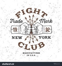 """Boxing Monochrome Vector Label , Badge , Logo """" Fight Club """" For Hipster Flyer…"""