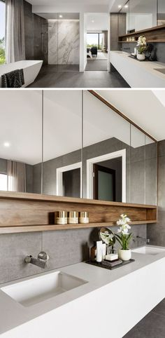 This modern ensuite bathroom features a large walk-in shower, a long white vanity with undermount sinks, and a freestanding bathtub. ideas modern The Design Of 'The Riviera' Is Focused On Indoor/Outdoor Living And Space For Entertaining