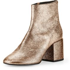 Mm6 Maison Martin Margiela Metallic Leather Chunky-Heel Bootie (€455) ❤ liked on Polyvore featuring shoes, boots, ankle booties, copper, faux-leather boots, chunky heel boots, short boots, chunky heel booties and block heel bootie