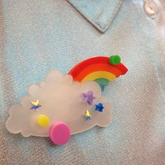Cutest outfit ever? Flo teams an ASOS shimmery shirt with our new Head in the Clouds Brooch. That mini  rainbow peeping out behind the clouds gets us every time...!