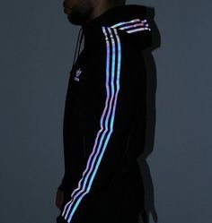 Fashion - Reflective/Shiny White/Silver & Black adidas Glow Up Jacket/Sweatshirt with Hoodie