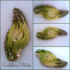 Shibori Ribbon Bead Embroidered Leaf Brooch by SoulshineStudioNY, $28.00