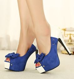 Blue and White Pumps