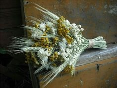 Rustic Wedding Bouquet Featuring: Dried Florals, Yellow Tansy, Wheat, White Florals Hand Tied With Jute String