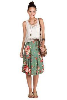 floral skirt, lace shirt
