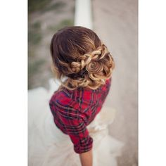 Braided updo ❤ liked on Polyvore featuring hair