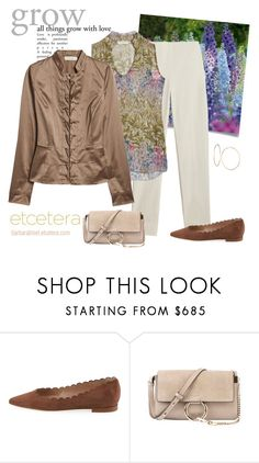 """""""Explore truffle brown jacket, Hothouse floral print blouse, Whisper khaki pant - Etcetera Spring '18"""" by biseletcetera ❤ liked on Polyvore featuring GUESS"""