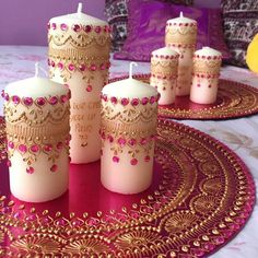 Wedding mehndi thaal candle set home decor image 2 Desi Wedding Decor, Wedding Mehndi, Indian Wedding Decorations, Indian Wedding Favors, Diy Wedding, Henna Party, Small Candles, Pillar Candles, Candels