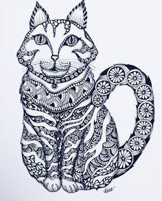 My Zencat by #binazen # zentangle
