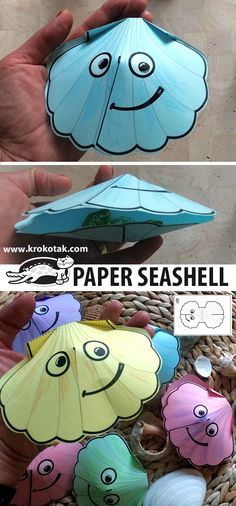 PAPER SEASHELL Seashell Crafts Kids, Ocean Crafts, Pig Crafts, Paper Crafts, Crafts For Kids To Make, Art For Kids, Paper Toys, Summer Crafts, Collages