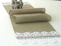 Burlap table runner with hand crouched  white lace wedding table runner table…